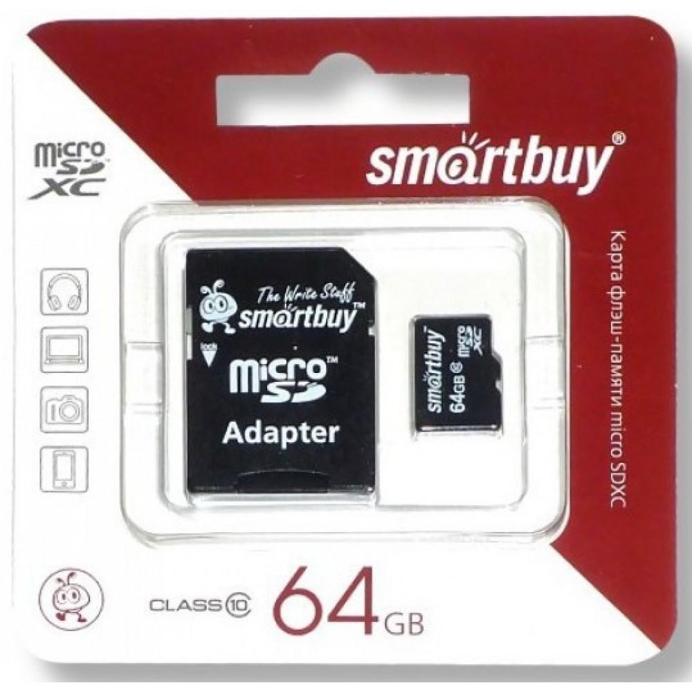Карта памяти Micro SD 64 Gb Class 10